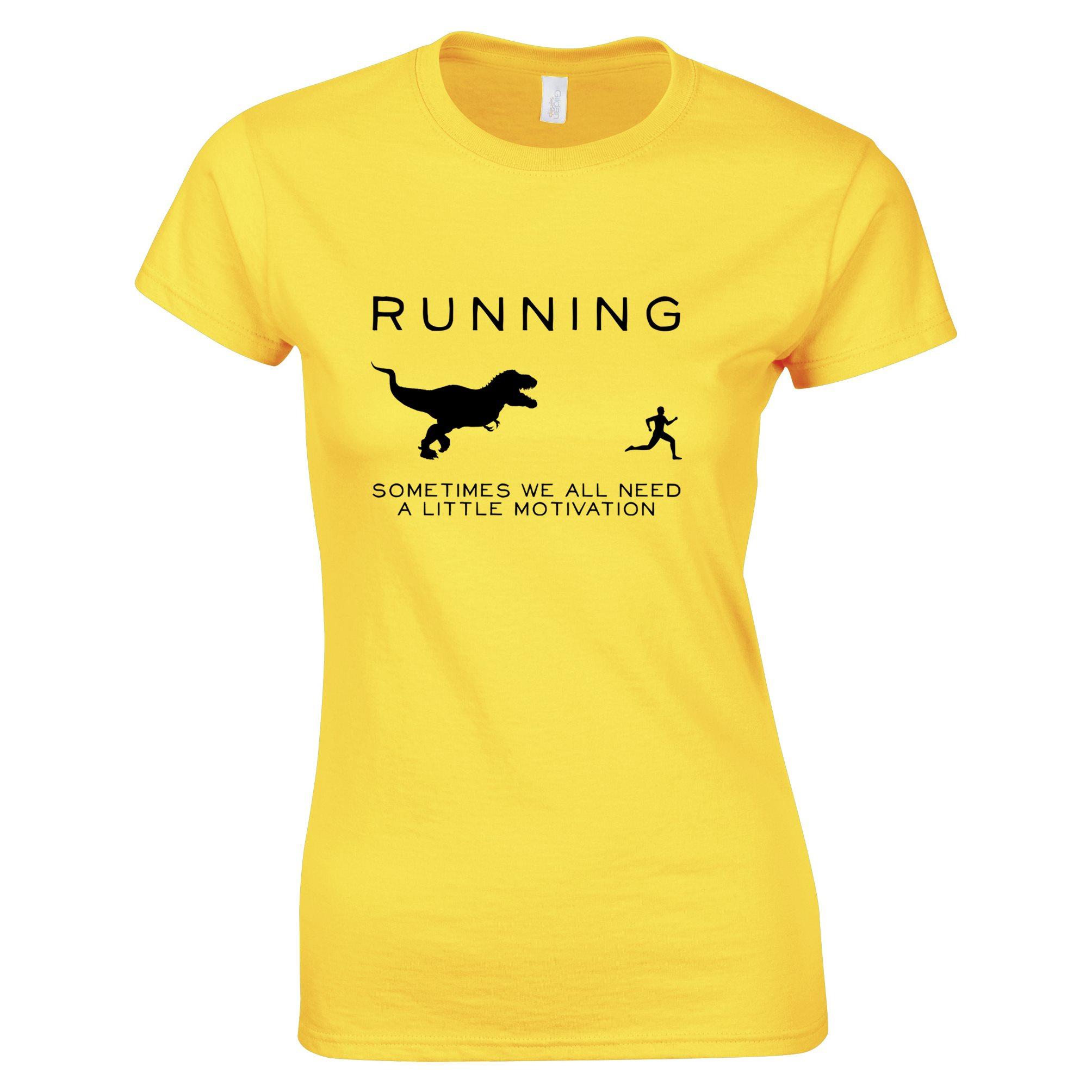 Running Dinosaur Motivation Tee Rex Jogging Exersize Funny