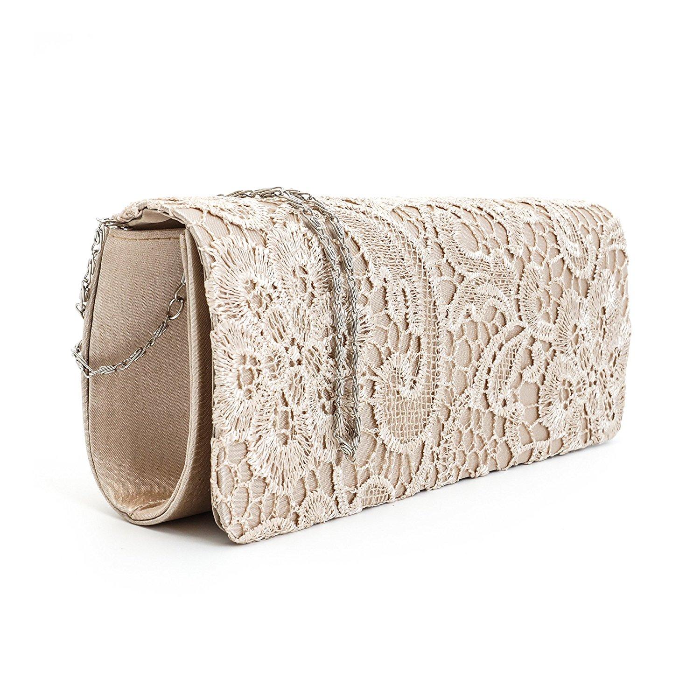 satin floral lace designer clutch bag evening purse ladies